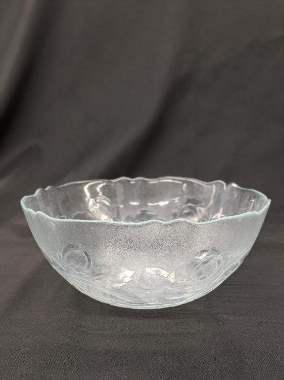 BOWL 3 1/2 QT GLASS ROSE PATTERN