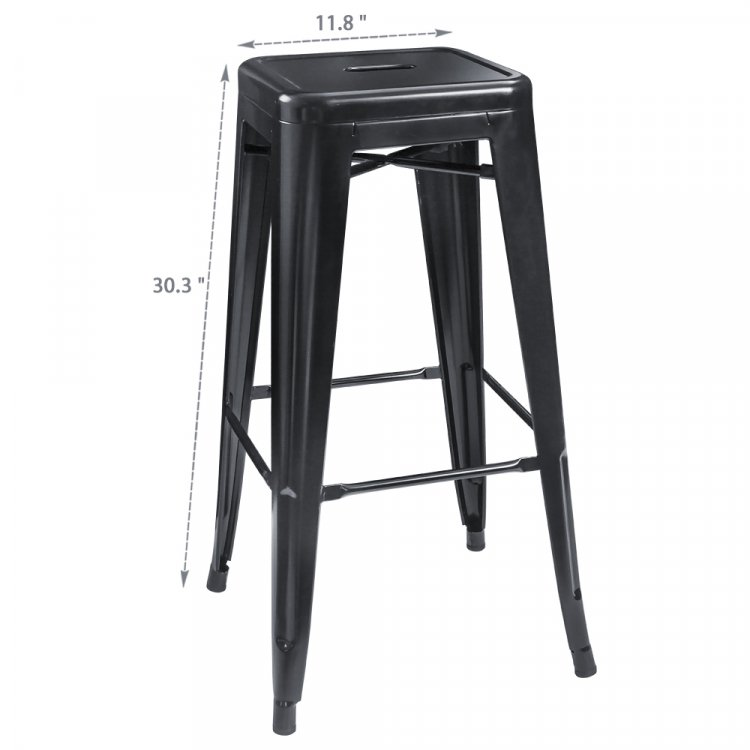 30 Inches Black Metal Bar Stools