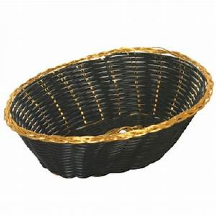 BREAD BASKET BLK & GOLD WEAVE