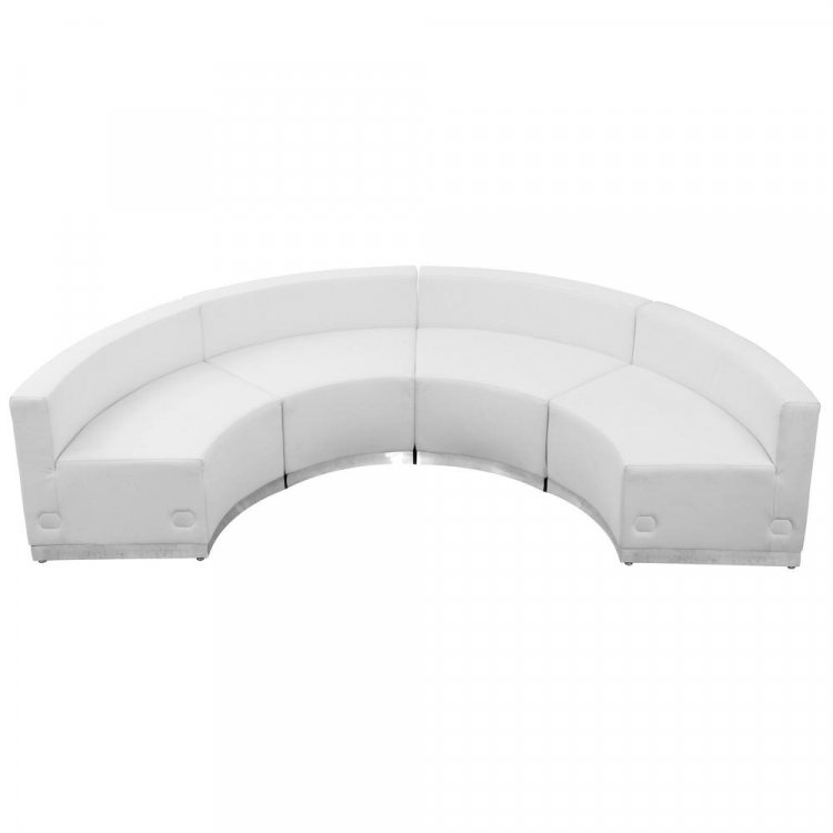 SOFA WHITE LEATHER 1/4 CURVE