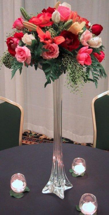 24 Black Eiffel Tower Glass Flower Vase