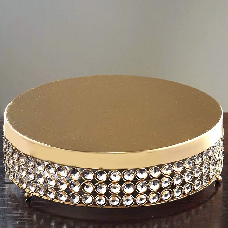 15.5 Gold Crystal Beaded Metal Riser Cake Stand