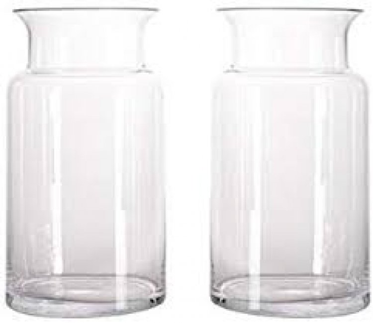 9 Flared Neck Heavy Duty Clear Glass Vases