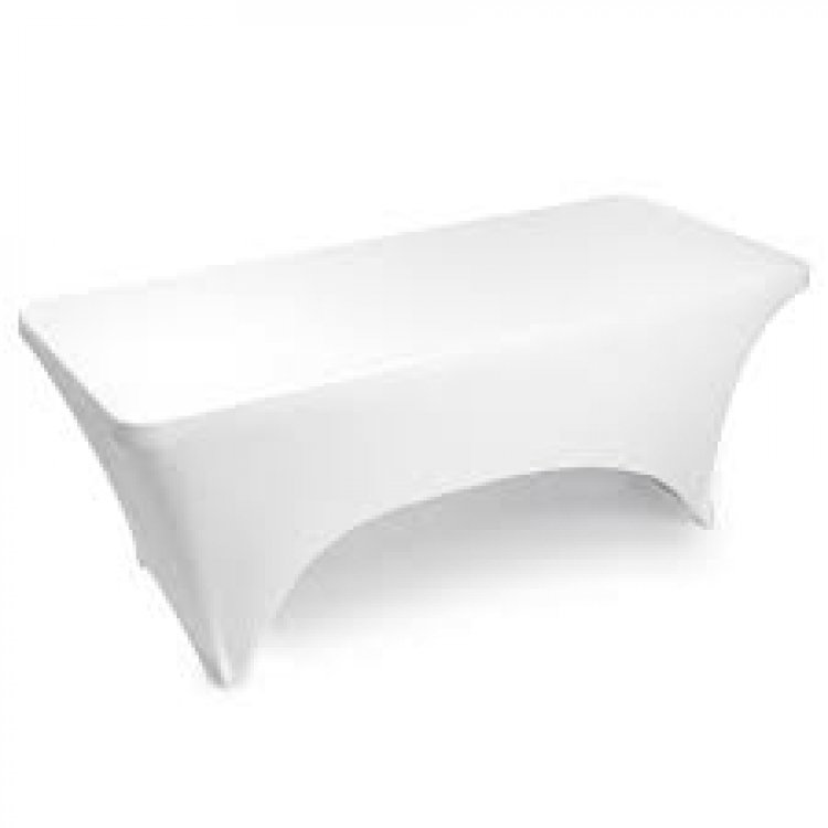 8ft White Rectangular Stretch Spandex Tablecloth