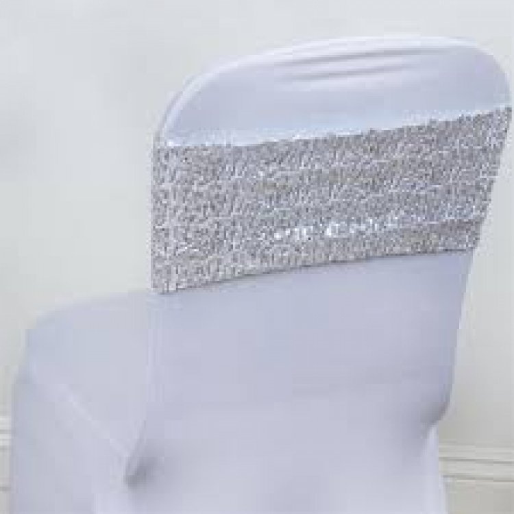 Sliver Sequin Spandex Chair Sash