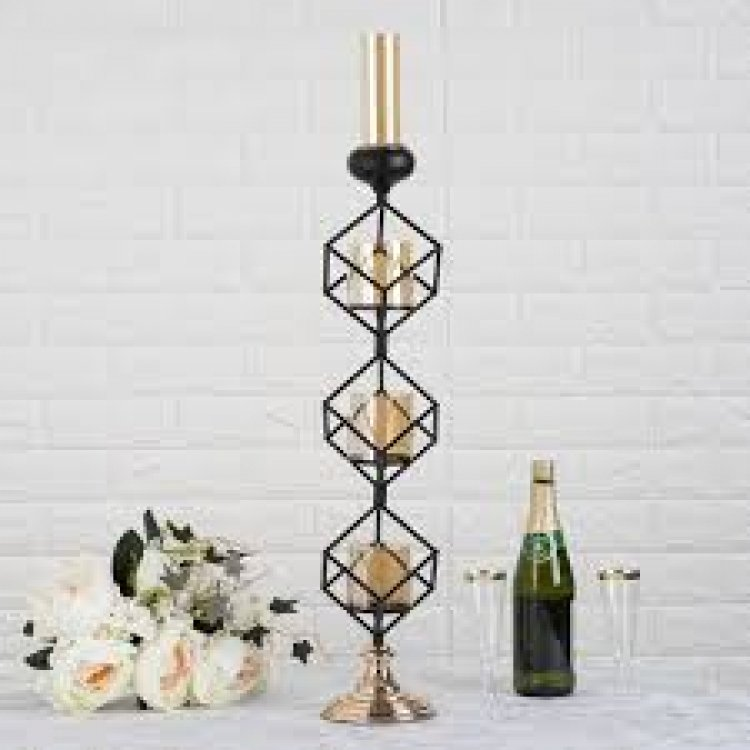 Geometric Candle Holders Wholesale with Amber Glass Votives