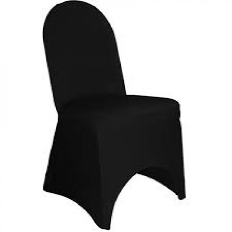 Black Stretch Spandex Banquet Chair Cover With Foot Pockets