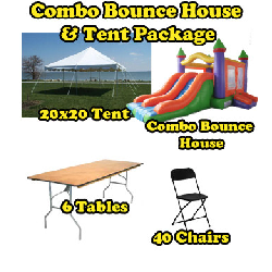 Party Package #5 - Pole Tent & Combo Bounce (40 People)