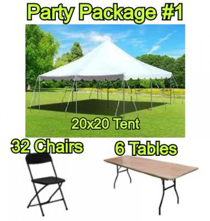 Party Package #1 - 20x20 Pole Tent (32 People)