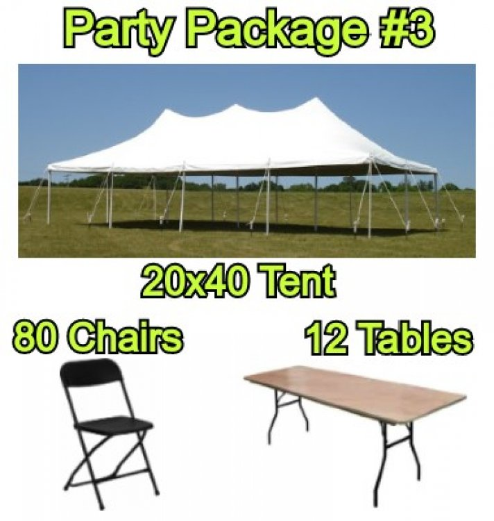 Party Package #3 - 20x40 Pole Tent (80 People)